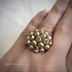 Vintage jeweled cluster stretch ring